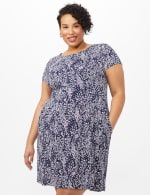Fit and Flare Puff Print with Pockets Dress - Berry - Front