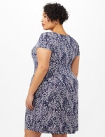 Fit and Flare Puff Print with Pockets Dress - Berry - Back