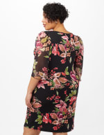 Floral Knit Dress with Chiffon Sleeves - Black - Back