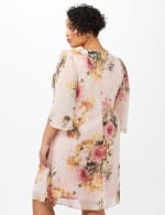 Floral Chiffon Dress with Keyhole Neckline - Rose - Back