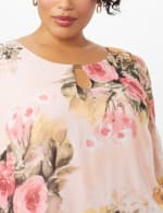 Floral Chiffon Dress with Keyhole Neckline - Rose - Detail