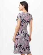 Paisley Seam Detail Dress - Navy/Pink - Back