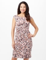 Faux Wrap Bubble Print Dress - Pink - Front