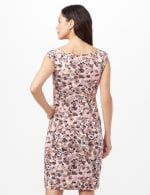 Faux Wrap Bubble Print Dress - Pink - Back
