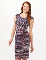 Multi Dot Side Pintuck Dress - Black - Front