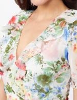 Floral Chiffon Wrap Ruffle Dress - Ivory/Pink - Detail
