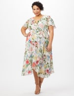 Floral Chiffon Wrap Ruffle Dress - Plus - Ivory/Pink - Front