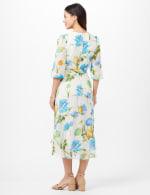 Jacquard Chiffon Wrap Ruffle Hem Dress - Cream/Turq - Back