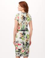 Cutout Neck Floral Scuba Dress - Ivory/Multi/Blk - Back