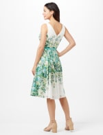 Printed Lace Belted Fit and Flare Dress - Green/Teal/Yellow - Back