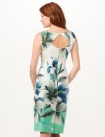 Placed Lily Scuba Sheath Dress - White/Blue/Green - Back