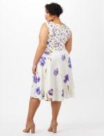 Mock Wrap Scuba Dress - Ivory/Peri - Back