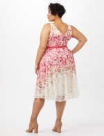 Printed Lace Dress with Grosgrain Ribbon Belt - Ivory/Raspberry - Back