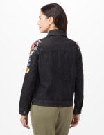 Long Sleeve Embroidered Denim Jacket - Black Denim - Back