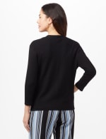 Geometric Stitch Detail Cardigan - Black - Back
