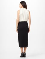 Side Slit Pull-On Pencil Skirt with Button Detail - Black - Back