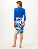 Pull-On Floral Print Slim Skirt - White/Blue - Back