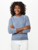 Mineral Wash Raw Edge Sweatshirt - Faded Denim - Front
