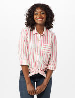 Roll Tab Lurex Stripe Shirt - Misses - Red - Front