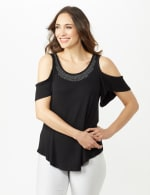 Cold Shoulder Knit Top - Black - Front