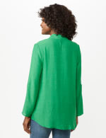 Textured Button Front Tunic Shirt - Bright Palm - Back