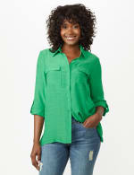 Textured Button Front Tunic Shirt - Bright Palm - Front