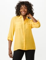 Textured Button Front Tunic Shirt - Butter Gold - Front