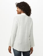 Textured Button Front Tunic Shirt - 17