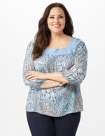 Crochet Trim Square Neck Floral Top - Blue - Front
