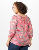 Crochet Trim Square Neck Floral Top - Coral - Back