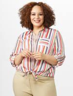 Multi Stripe Roll Tab Shirt - Plus - Multi - Front