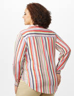 Multi Stripe Roll Tab Shirt - Plus - Multi - Back