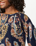Crochet Trim Smock Paisley Texture Top - Navy/Peach - Detail
