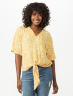 Elbow Tie Front Bell Sleeve Blouse - Gold/White - Front