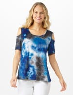 Tie Dye Cold Shoulder Knit Top - Navy - Front