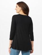 Hi-Low Medallion Screen Knit Tunic - Misses - Black - Back