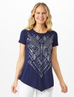 V Front Knit Screen Tunic - Navy - Front