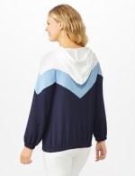 Color Block Self Tie Hoodie - Misses - Blue - Back