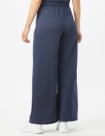 Drawstring Heathered Navy Knit Pant - Misses - Blue - Back