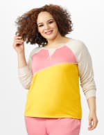 Color Block Sweatshirt with Stitch Detail - Coral - Front