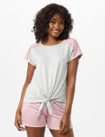 Color Block Tie Front Knit Tee - Misses - Heather Grey - Front