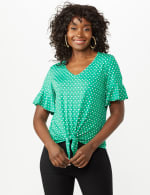 Flutter Sleeve Tie Bottom Knit Top - Green - Front