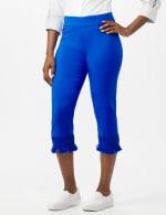 Pull on Crop Pants with Novelty Fringe Hem - Princess Blue - Front