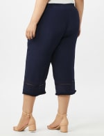 Pull on Wide Leg Crop Pants with Fringe Trim - Navy Blazer - Back