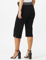 Pull On Crop Pants With Printed Tie Sash - Black - Back