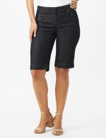 Extended Button Tab Bermuda Short With Inner Beauty - Rinse - Front