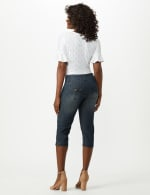 2 Button Capri With Front Pocket and Back Flap Pkts - Riviera Blue Wash - Back