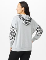 Leopard Trim Mix Media Hoodie - Heather Grey - Back