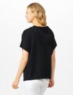 Hoodie Sweater Poncho - Black - Back