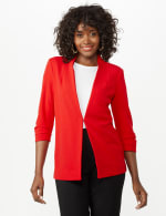 Open Front Collarless Cardigan With Ruched Sleeve - Misses - Infared - Front